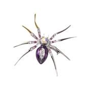 Veroda Dazzling Spider Clip Pin Brooch w/ Rhinestone - Purple
