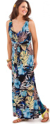 Gorgeous Ladies Tropical Floral Pattern V Neck Full Length Maxi Summer Dress, Pink or Blue