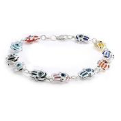 Bling Jewellery Sterling Silver Multi Colour Evil Eye Hamsa Charm Bracelet 19cm
