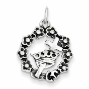 Sterling Silver Wreath Cross and Crown Charm