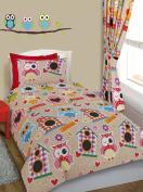 Owls print Toddler Bed / Cot Bed Duvet Cover & Pillowcase Bedding Set