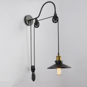 American country stretching pulley Wall cafe bar and restaurant industry vintage wrought iron wall lamp bedroom den