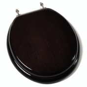 Designer Solid Round Toilet Seat with PVD Brushed Nickel Hinges - Finish