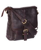 Mens Real Leather Cross body Messenger Bag A224 Brown Ipad pocket Satchel