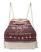 Baymate Women Drawstring Backpack Bohemia Style Canvas Bag