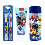 Paw Patrol 3 Piece Bathroom Gift Set - Bath and Shower Gel, Toothpaste & Twin Pack Toothbrush Set