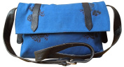 Spice Art Blue Block Printed Canvas / Cow Pdm Sling Bag