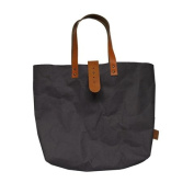 Black Paper Look Tote Bag with camel brown clasp