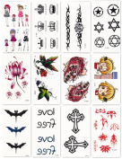 Bbei Temporary Tattoo Stickers Body Art, Most Fashionable Designs, 12 Sheets in One Pack, Lotus, Bat, Butterfly, Girls, Tiger,etc.