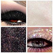 Glitter Eyes Duo Set 9 - Black & Clear Holographic Eye Shadow Fixing gel Long Lasting
