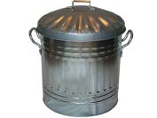 Portable 15L Mini Galvanised Steel Home Garden Dust Bin for Waste Trash Rubbish