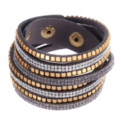 ZiZi Heather ~ Crystal & Faux Leather Bracelet Wrap Bangle Wristband Cuff
