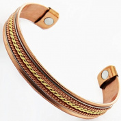 Two Three Tone Silver Gold Coated Copper Core Magnetic Bracelet Bangle For Arthritis Pain Relief