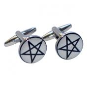 Pentagram Design Round Cufflinks X2BOC169
