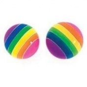 925 Silver plastic rainbow ball studs/Free Gift Box S32