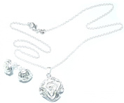 PRESKIN Beautiful Silver Rose Jewellery Set with necklace (44 cm) with platinum pendant, matching earrings | 925 silver plated