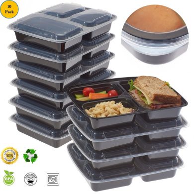 prexware meal prep food container 2 size 3 compartment food container portion control lunch. Black Bedroom Furniture Sets. Home Design Ideas
