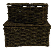 Set of 2 Small Seagrass Lidded Baskets