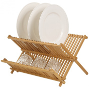 Bamboo Draining Rack Dish Drainer Plate Wooden Folding Washing Up Counter Sink