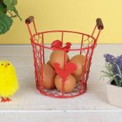 Red Farmhouse Rooster Kitchen Storage Basket H11 x D14cm