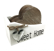 6 x Vintage Shabby Chic Wooden Heart Coasters