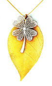 Ana Morales Ladies Set of 2 Natural Large 24 K Gold Plated Leaf Clover Platinum Plated without chain length approx. 60 mm