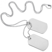 Silver 2 PCS Alloy Pendant Necklace Army Double Dog Tag