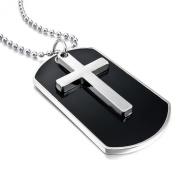 MENDINO Men's Alloy Silver Cross Black Dog Tag Army Style Pendant Chain Necklaces Velvet Bag