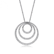 Waterlucy 3 Circles Pendant CZ Paved with 18k Rose Gold Plated Necklaces