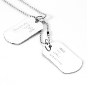 MENDINO Men's Jewellery 2 PCS Dog Silver Tags Alloy Army Punk Style Pendants Chain Necklaces