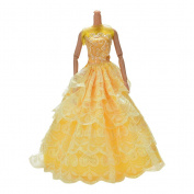 BESTIM INCUK Barbie Doll Clothes Fashion Handmade Yellow 4-Layer Sequin Gown Dress for Girl's Birthday Gift