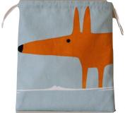 Scion Mr Fox Sky/Tangerine Fabric. Drawstring Waterproof Lined Wash Bag, Cosmetic Bag