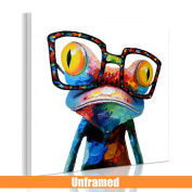 RAIN QUEEN 50X50cm 3D Full Colours Abstract Cute Frog Oil Painting on Canvas No Frame Poster Wall Art Picture Decoration Home 1Piece