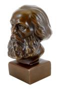 Bronze Head - Karl Marx bust - signed by Gladenbeck