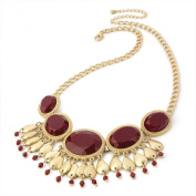 Divadoo Matt Gold Colour Red Bead Charm Necklace