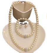 Jays Jewellery - Cream Wedding Jewellery Set faux Pearl & Paved Dimante Crystal Necklace Studs Earrings