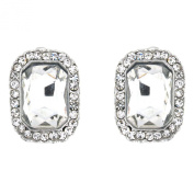 Clip On Earrings Store Silver & Clear Crystal Octagon Clip on Earrings