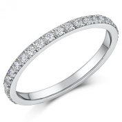 Ladies White Titanium CZ Eternity Ring 2mm