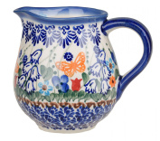 Classic Boleslawiec Pottery Hand Painted Ceramic Milk, Cream Jug 250ml 514-U-099