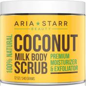 Aria Starr Coconut Milk Body Scrub - Best 100% Natural Skin Care Exfoliator & Moisturiser - 350ml
