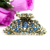 Beautyxyz Multi/white/blue/brown colour Crystal high quality two hearts design Hair Claws Clips Pins