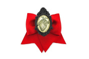 Project Pinup Anatomical Human Heart Cameo Blood Red Ribbon Traditional Hair Bow Clip