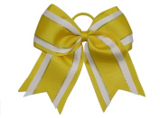 """NEW """"Yellow Glitz"""" Cheer Bow Pony Tail 7.6cm Inch Ribbon Girls Hair Bows Cheerleading Dance Practise Football Games Uniform Competition"""