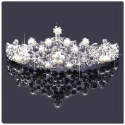 Casualfashion Bridal Rhinestone Crown Tiaras Princess Pearls Headband Hair Jewellery