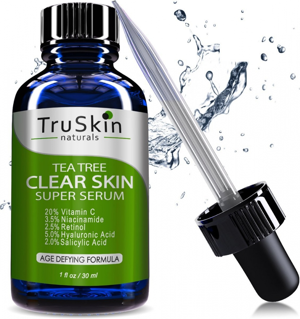 TruSkin Naturals Tea Tree Clear Skin Serum - Age-Defying formula for  acne-prone skin with 20% Vitamin C, Retinol, Niacinamide, Salicylic Acid &