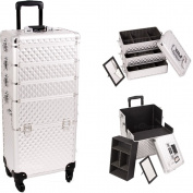 Sunrise Outdoor Travel Silver Diamond Trolley Makeup Case - I3361
