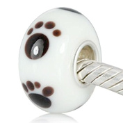 Ollia Jewellery Lampwork Murano Glass Beads Paw Print Charm with 925 Sterling Silver Core Pet Animal Charm Cat Dog Charms