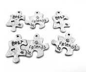Three (3) Pair Silver Tone Pewter *Best* & *Friends* Puzzle Piece Charms