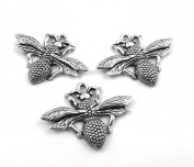 Set of Three (3) Silver Tone Pewter Queen Bee Charms