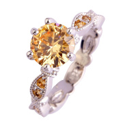 Narica Womens Brilliant Round Cut Brilliant Morganite Twisted Band Cocktail Ring